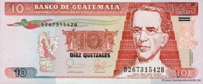Billete de diez quetzales, Guatemala