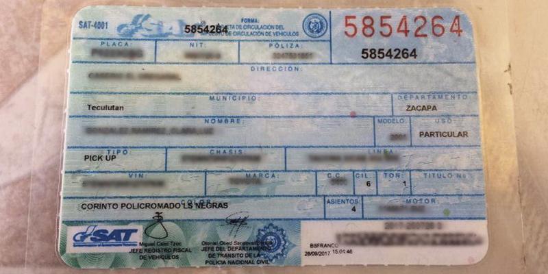 Reposición de tarjeta de circulación como persona individual