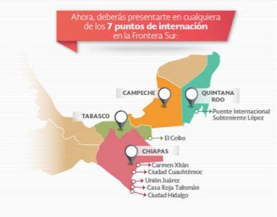 puntos de internacion en la frontera sur de mexico