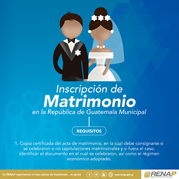 Requisitos para inscripción de matrimonio en el RENAP