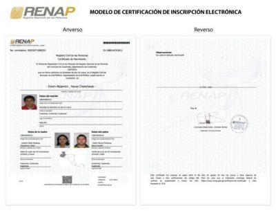 certificacion de inscripcion de nacimiento en linea