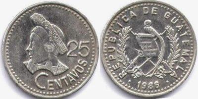 Historia de la Moneda de 25 centavos de Guatemala