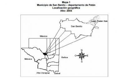 Mapa del Municipio de San Benito departamento de Petén