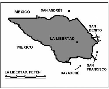 Mapa del Municipio de la Libertad del departamento de Petén