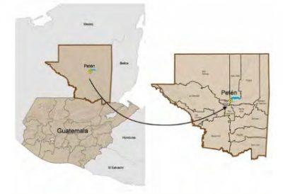 Mapa del departamento de Petén