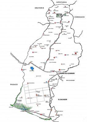 Mapa del municipio de Moyuta departamento de Jutiapa