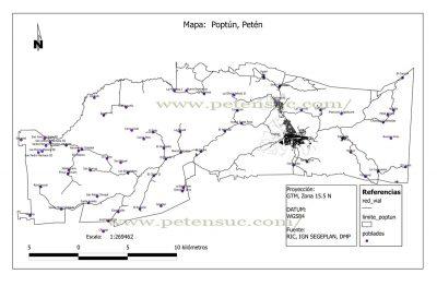 Mapa del municipio de Poptún, departamento de Petén