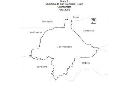 Mapa del municipio de San Francisco del departamento de Petén