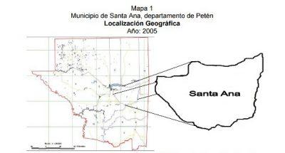 Mapa del municipio de Santa Ana en el departamento de Petén