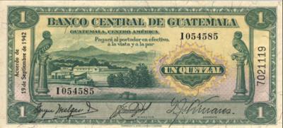 billete 1 quetzal