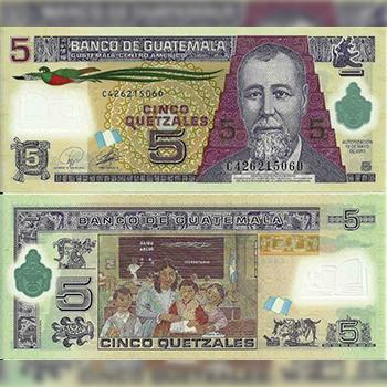 Historia del billete de 5 quetzales de Guatemala