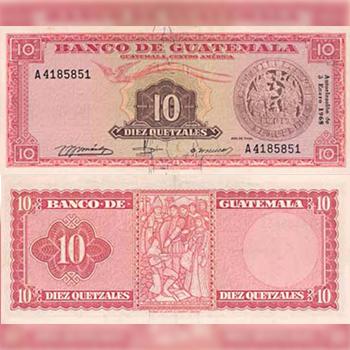 Historia del billete de 10 quetzales en Guatemala