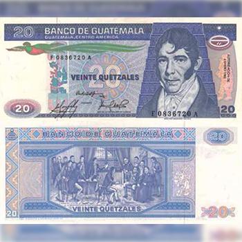 Historia del billete de 20 quetzales en Guatemala