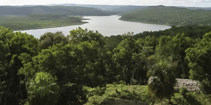 Descripción de foto - vista de un humedal desde el aire, rodeado de busque nuboso y montañas - crédito - américa económica