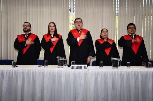 Colegio de abogados y notarios en acto cívico