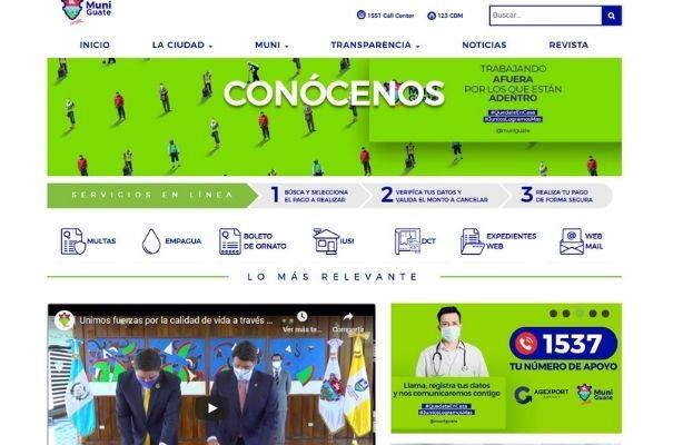 Menú de inicio, portal de Municipalidad - Foto Guatemala.com