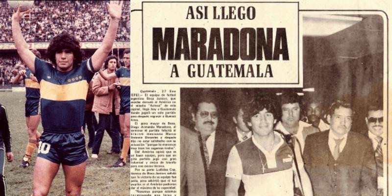 Fotos del futbolista argentino Diego Maradona en Guatemala