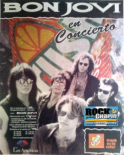 Concierto único de Bon Jovi en Guatemala, 1993, anuncio orange crush - Foto Rock Chapín