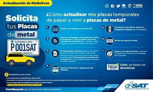 Cómo actualizar placas temporales a placas de metal en Guatemala - foto - SAT - FB
