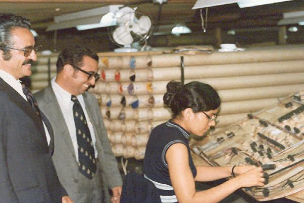 Descripción de foto - Mujer trabajando uniendo conexiones mientras que dos hombres la ven sonriendo. - Crédito - Grupo Distelsa