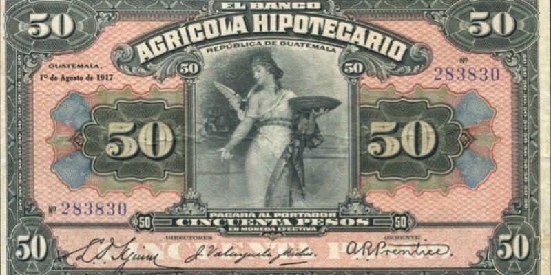 Descripción de la foto - Anverso de un billete de 50 pesos del banco Agrícola de 1917 - Crédito UFM
