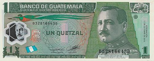 Descripción de la foto - Anverso del billete de 1 quetzal emitido en 2012. - crédito Numismática las Tiendas