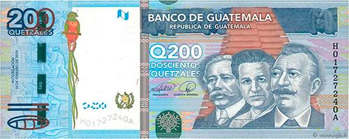 Descripción de la foto - Anverso del billete de 200 quetzales. - crédito Numismática las Tiendas