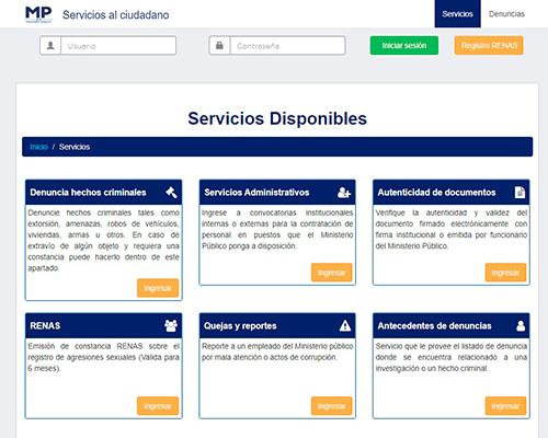 Descripción de la foto -Portal web de las denuncias electrónicas del Ministerio Púb - Crédito Ministerio Público de Guatemala