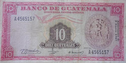 Descripción de la foto - anverso del billete de 10 quetzales de 1969. - crédito Billetes y monedas antiguas de Guatemala - Facebook