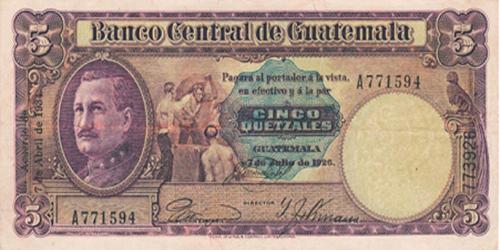 Descripción de la foto - anverso del billete de 5 quetzales de 1934. - crédito Compra de Billetes y monedas antiguas de Guatemala - Facebook