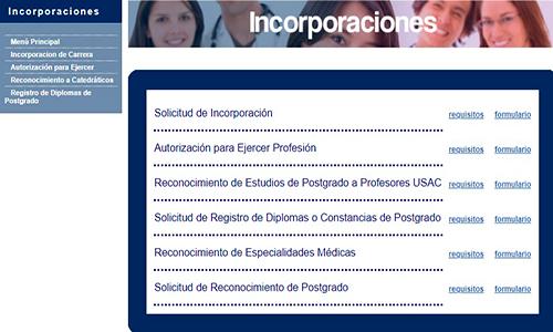 Descripción de la foto - portal de la sección de primer incorporaciones con los requisitos y formularios disponibles - Crédito Guatemala . com