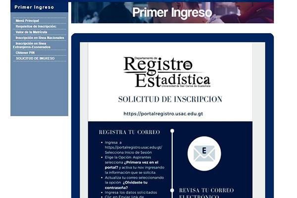 Descripción de la foto - portal de la sección de primer ingreso con el instructivo de activación de usuario - Crédito Guatemala . com