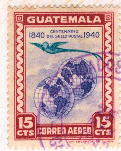 Descripción de la foto - sello ilustrativo del quetzal, 1940- crédito de la foto - Sergio Romero