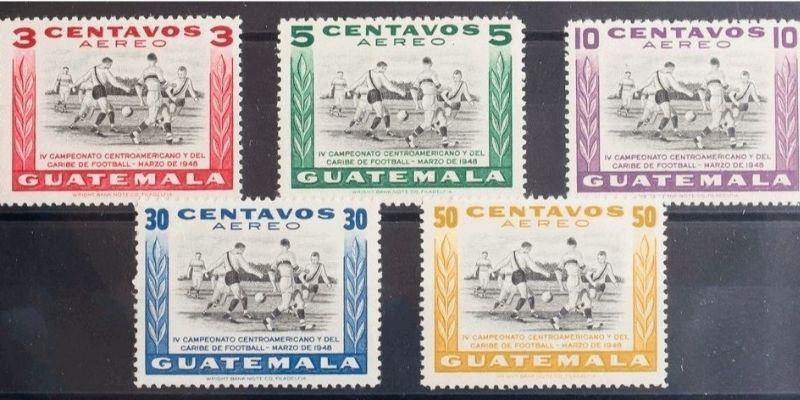Descripción de la foto - serie completa de los sellos postales del correo aéreo de Guatemala, 1948 - crédito de la foto - Filatelia Iberphil