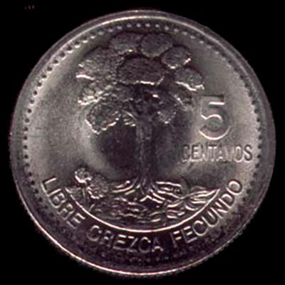 Historia de la Ceiba pentrada de Chiquimula - descripción de la foto - reverso de los 5 centavos con la Ceiba de Chiquimula y la frase - crédito catálogo de monedas guatemaltecas
