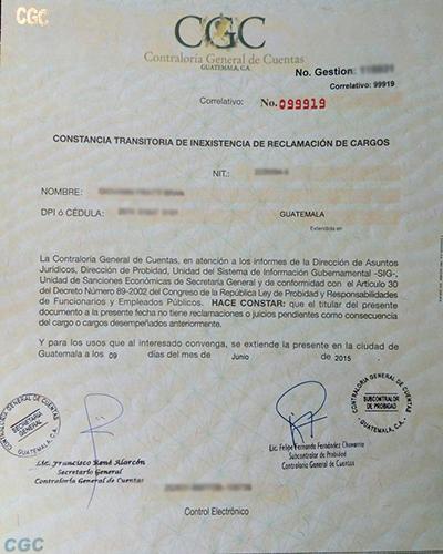 Requisitos para solicitar un finiquito en la Contraloría General de Cuentas de Guatemala - descripción de la foto - Constancia Transitoria de Inexistencia de reclamación de cargos