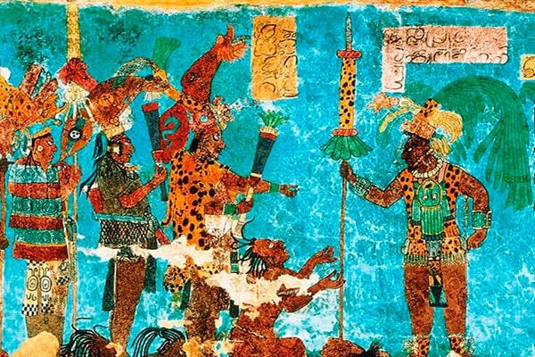Descripción de foto - Cuadro maya que representa el Lapislázuli, el color de los mayas. - Crédito de foto - Top Adventure