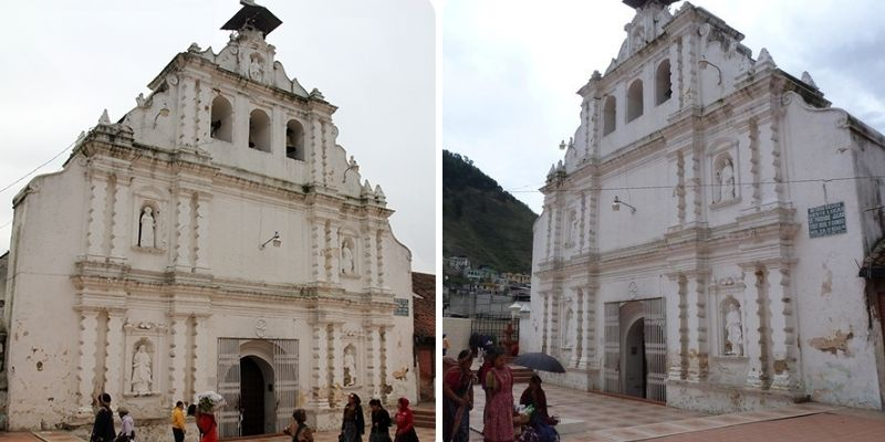 Descripción de foto - Exterior de la iglesia San Pedro Apóstol de Almolonga visto desde dos ángulos diferentes, uno lateral izquierda y otro derecha