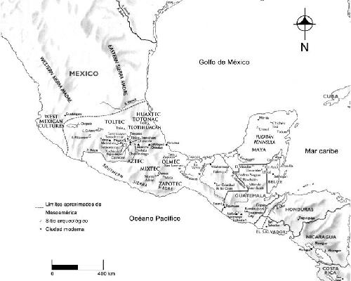Descripción de foto - Mapa de Mesoamérica con ubicaciones de las cilizaciones más importantes de la región. - Crédito de foto - Kathryn Reese
