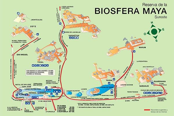 Descripción de foto - Mapa de la Biosfera Maya ala del sureste para recorrido turístico. - Crédito de foto - INGUAT