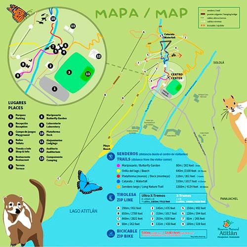 Descripción de foto - Mapa de la Reserva Natural y cómo caminar por los senderos. - Descripción de foto - Reserva Natural Atitlán