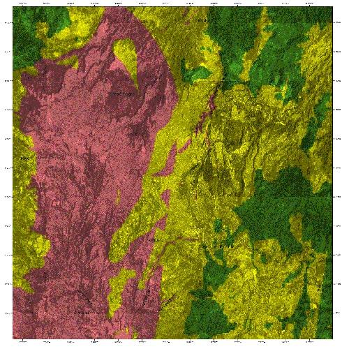Descripción de foto - Mapa de la falla de Mixco, Guatemala, donde se divide entre verde, amarillo y rojo la concentración de daños. - Crédito de foto - INSIVUMEH