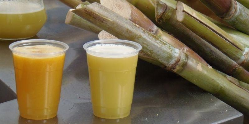 Descripción de foto - Se ven dos vasos con jugo de caña, sobre una mesa metálica, y de fondo las cañas. - Descripción de foto - Atrivitus. com