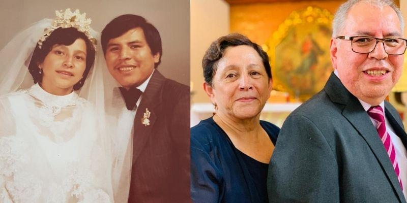Descripción de foto - de lado izquierdo, pareja de esposos jóvenes con su hijo. De lado derecho, pareja de esposos con más de 40 años de casados. - Crédito de foto - René Aroche