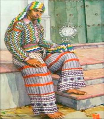 Descripción de foto - dibujo de hombre de Almolonga, sentado en las gradas de un atrio, vestido con su traje típico. - Crédito de foto - Dj Nefta