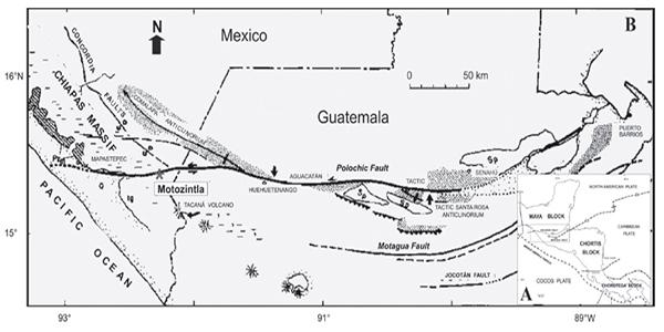 Descripción de foto - mapa de las placas tectónicas de Centro América donde se observan el Bloque Maya, Polochic y el Motagua. - Crédito de foto - Julio David Moir