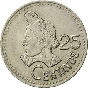 Descripción de foto - moneda de 25 centavos de Guatemala. - Crédito de foto - Colnet