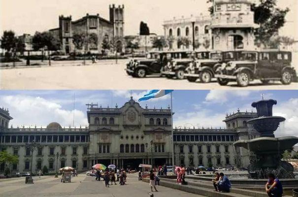 Descripción de foto - parte superior una foto antigua de la capital sin el Palacio Nacional en 1930. Parte inferior, parque Central, 2020. - Crédito de foto - minube . com