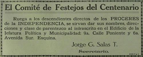 Descripción de la foto para personas con discapacidad visual: recorte de un anuncio del comité de festejos del centenario. (Crédito de foto: Óscar Hernández)