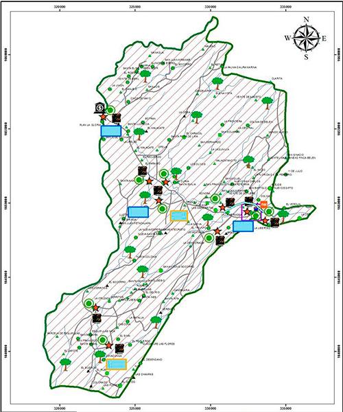Mapa del municipio de Malacatán, San Marcos